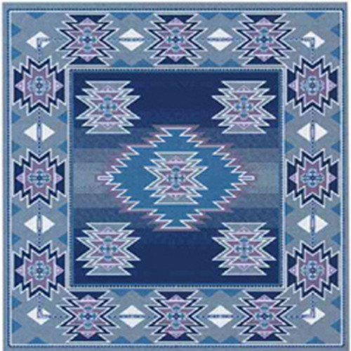 Southwest designed throw blanket, silver blue fleece