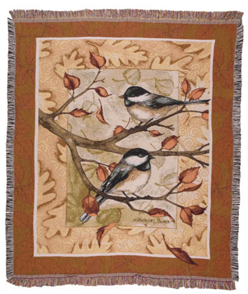 Autumn Chickadees tapestry throw blanket- fall home decor