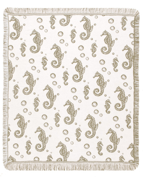 Khaki seahorses tapestry throw blanket- nautical home decor