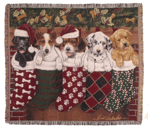 Christmas Puppies, holiday stockings, tapestry throw blanket