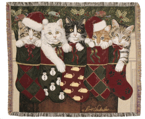 Christmas Stockings Kittens tapestry throw blanket, holiday decor