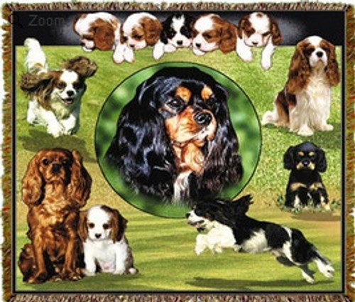 King Cavalier Spaniel puppies- Dog lover tapestry throw blanket