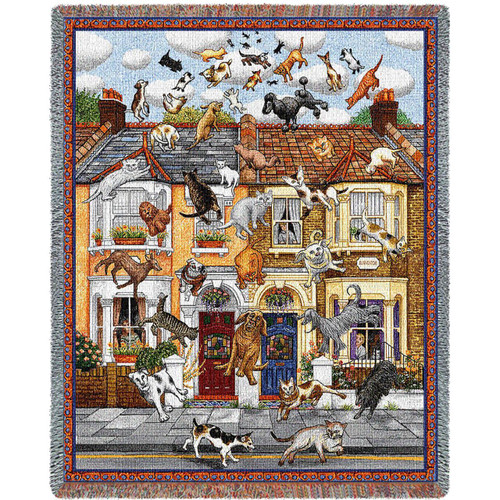 A fun whimsical pet tapestry throw blanket- Raining Cats and Dogs