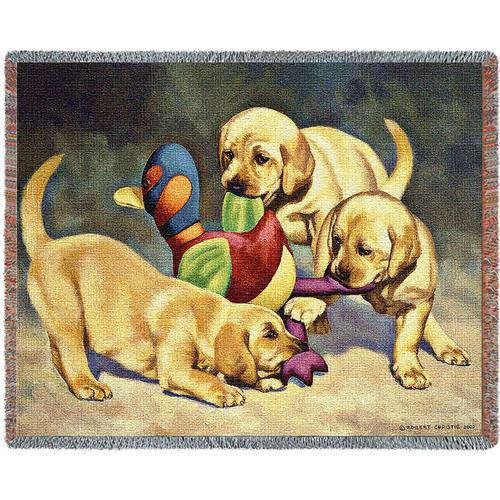 Playful yellow lab pups on a 54x70 tapestry throw blanket, dog lover gift