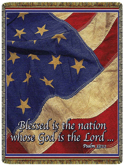 Patriotic flag tapestry throw blanket- Blessed Nation, God, Lord