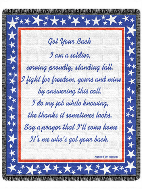 Soldier message- Got Your Back on patriotic tapestry throw blanket