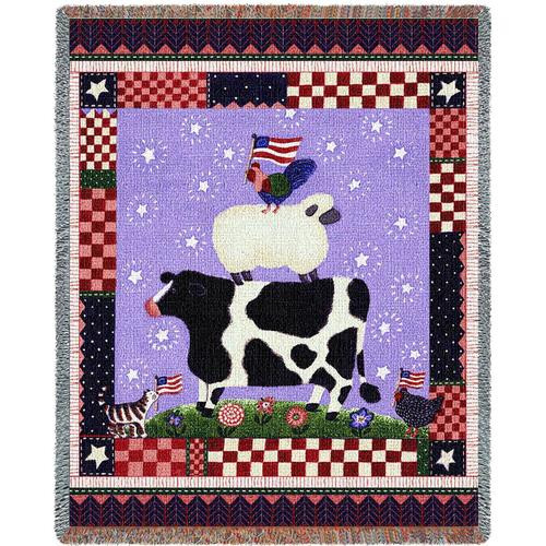 Patriotic Barnyard Animals tapestry throw blanket