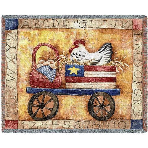 Patriotic Chicken tapestry throw blanket, Country Americana