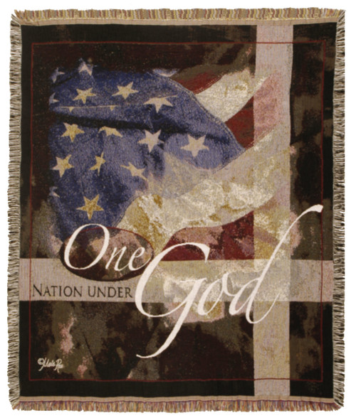 One Nation Under God- patriotic tapestry throw blanket