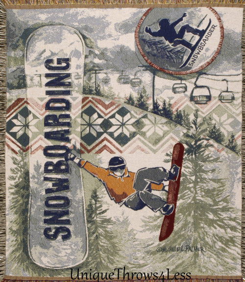 Snowboarding winter sports tapestry throw blanket