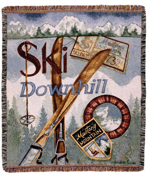 Snowski Downhill winter sports tapestry throw blanket