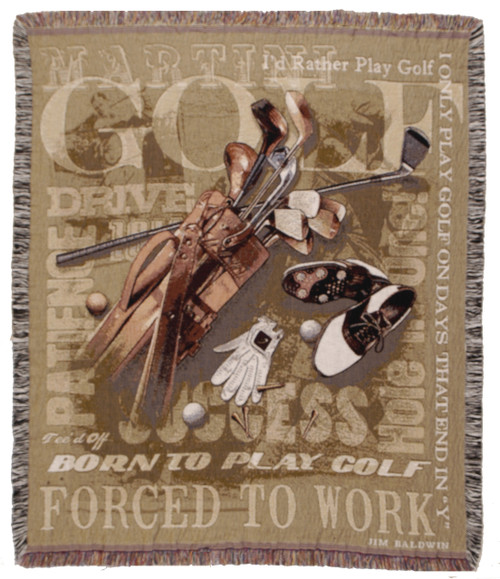 Born to Golf, Forced to Work tapestry throw blanket- man hobby