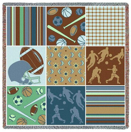 Nine Patch Sports Balls Collage tapestry throw blanket-Boy bedroom