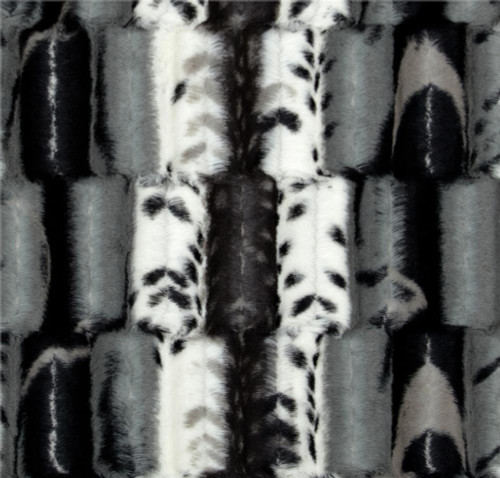 Black and gray leopard print faux fur throw blanket, minky coverlet