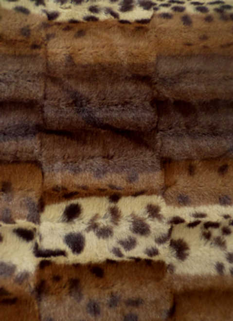 Fancy brown leopard print faux fur throw blanket- minky coverlet