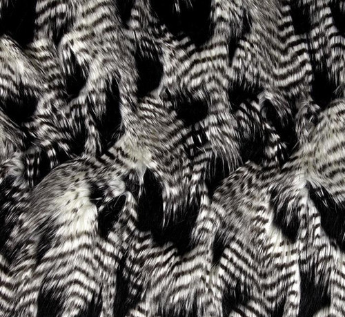 Black and White Faux Fur Feather throw blanket, elegant warmth