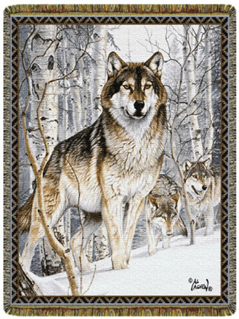 Second Glance Wolf tapestry throw blanket, Winter wonderland scene