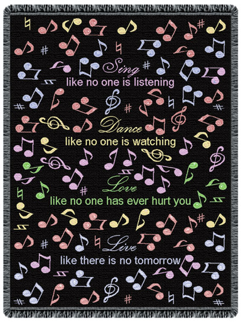 Sing, Dance, Love, Live- inspirational music tapestry throw blanket, pastel color