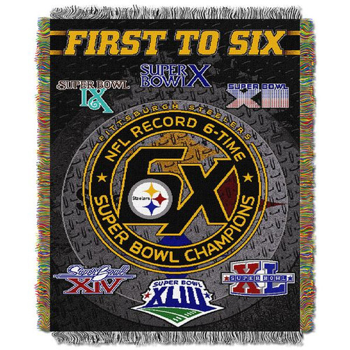 Pittsburgh Steelers Six Super Bowl Champion Commemorative throw blanket, NFL tapestry