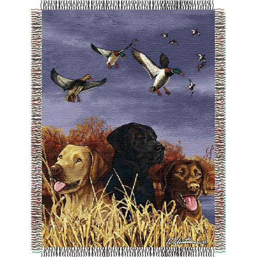 Dogs and ducks tapestry throw blanket, hunting, bird dogs, man