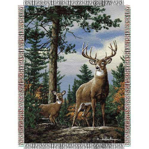 Pair of deer are featured on this King Stag tapestry throw blanket