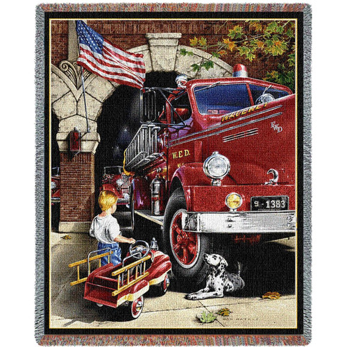 Boy Childhood dreams, firetruck tapestry throw blanket