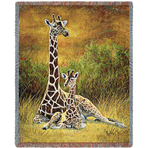 Mother and Baby Giraffe in a sunset safari field- tapestry throw blanket