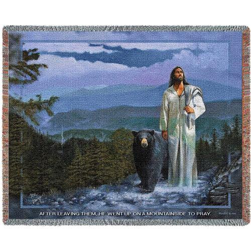 Spirit of the Smokies, Jesus, bear, mountains, tapestry throw blanket-inspirational gift