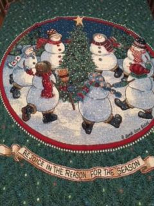 Happy snowmen dance for the Reason for the Season, Christmas throw blanket