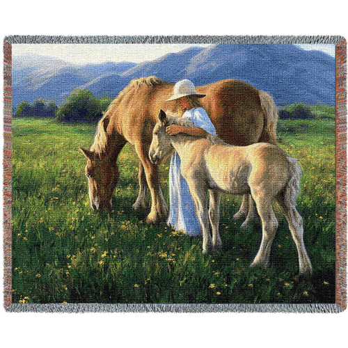 Beautiful Blondes Horse, Pony and Girl on tapestry throw blanket