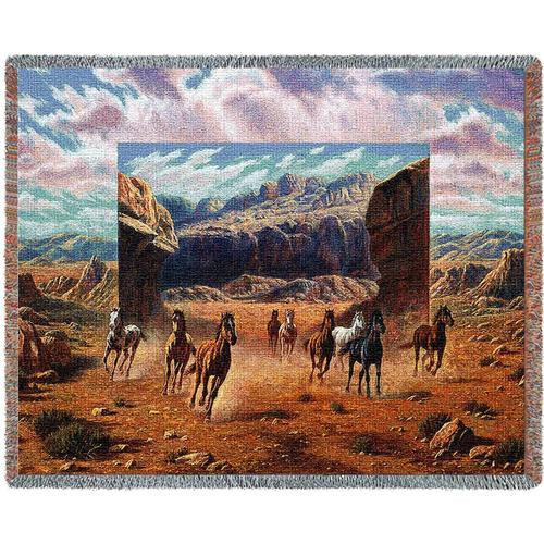 Modern art piece- Running Horses tapestry throw blanket