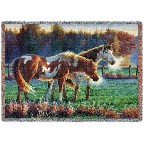 Two horses graze on a chilly morning- Pasture Buddies tapestry throw blanket