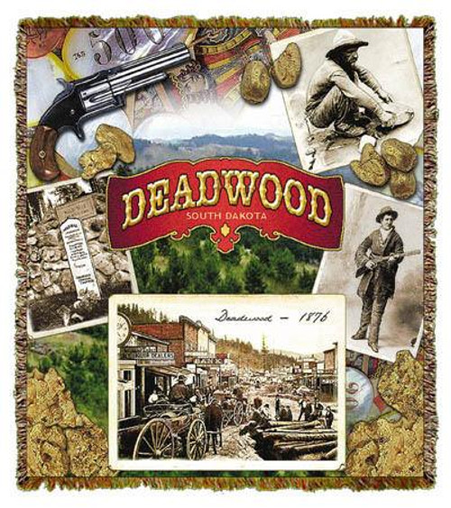 Mining town, Deadwood South Dakota on 68x48 tapestry throw blanket
