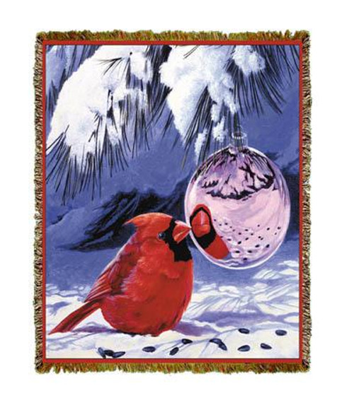Cardinal Bird Tapestry Throw Blanket, Christmas ornament reflections