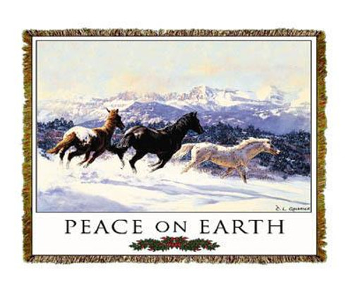 Winter Spirits horse tapestry throw blanket, peace on earth, Christmas, western holiday decor