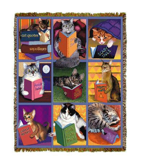 Cats enjoy a good read in their favorite books on our colorful tapestry throw blanket