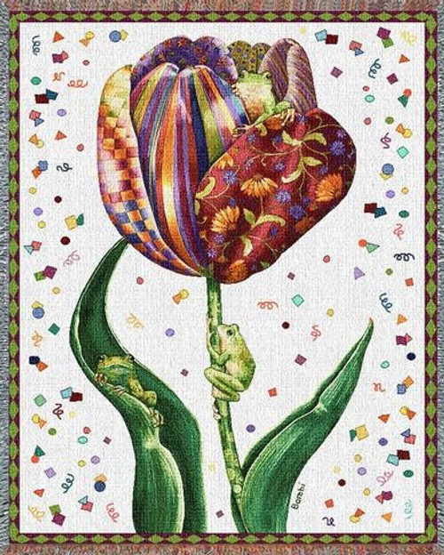 Confetti Tulips garden tapestry throw blanket, tree frogs