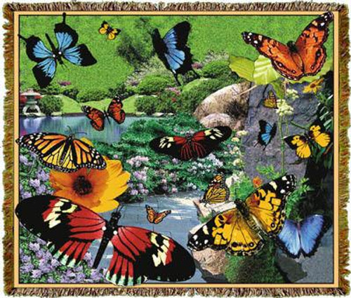 Colorful Butterflies garden tapestry throw blanket