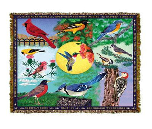 Colorful Backyard Birds 68x48 tapestry throw blanket