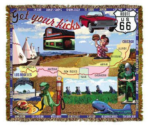 Route 66, Road Trip tapestry throw blanket, vacation souvenir