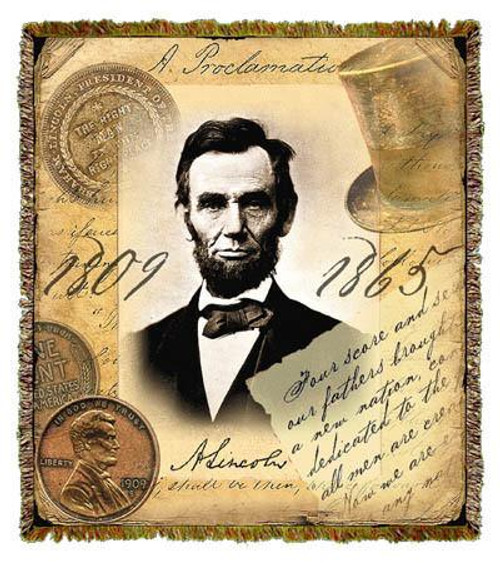Abraham Lincoln tapestry throw blanket, penny coin afghan