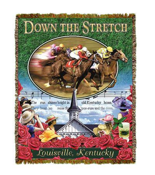 Down the stretch come beautiful race horses at the Kentucky Derby. Beautifully fringed tapestry throw blankets