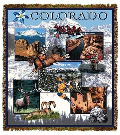 Denver Colorado, Rocky Mountains tapestry throw blanket