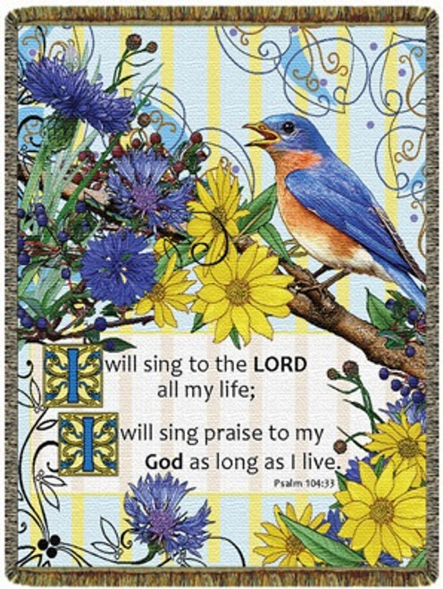 Inspirational Bluebird tapestry throw blanket- Psalm 104:33, blue, yellow, Sing Praise Scripture