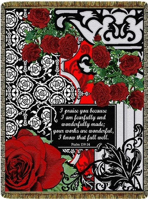 Red Roses inspirational tapestry throw blanket, Scripture Psalm 139, black white decor