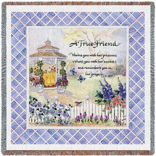 Woman True Friend tapestry throw blanket- inspirational gift, floral, lady