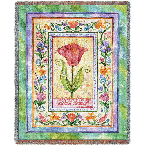 Proverbs 17, A Friend Loves, inspirational tapestry throw blanket, floral, tulip