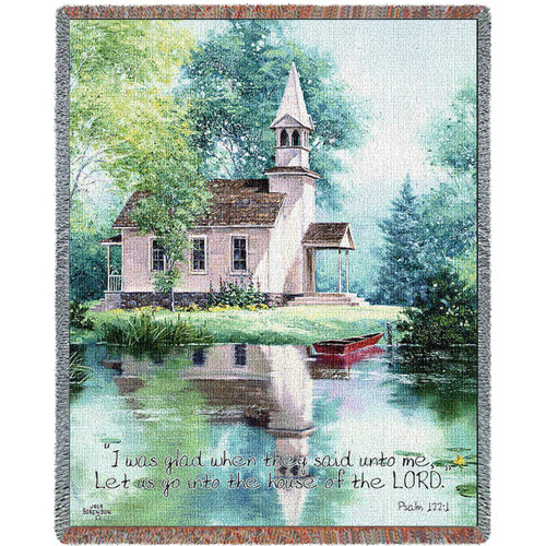 Lakeside Scripture tapestry throw blanket- Church Inspirational Gift, Psalm 122