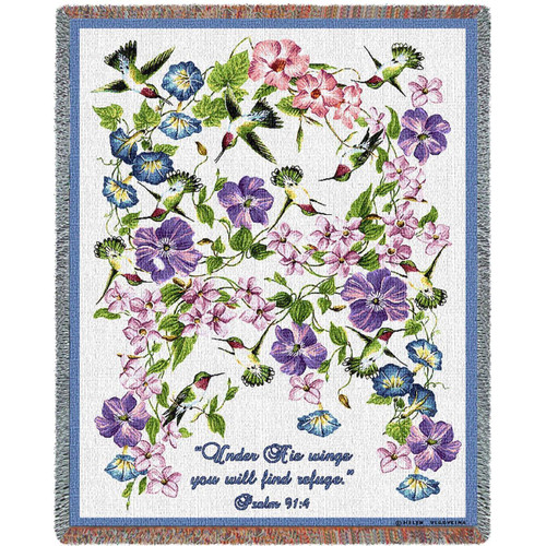 Hummingbird Inspirational tapestry throw blanket- floral, Psalm 91
