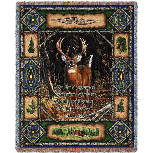 Deer Lodge Inspirational throw blanket, Psalm 42 tapestry, man gift